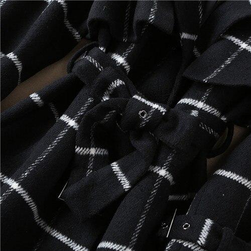 Noir Laine De Xl Top Gratuite Manteau Qualité Marque Blanc Manteaux Unique Poitrine Taille D'hiver Livraison Multi Haute Des Plaid Femmes nPYqPI