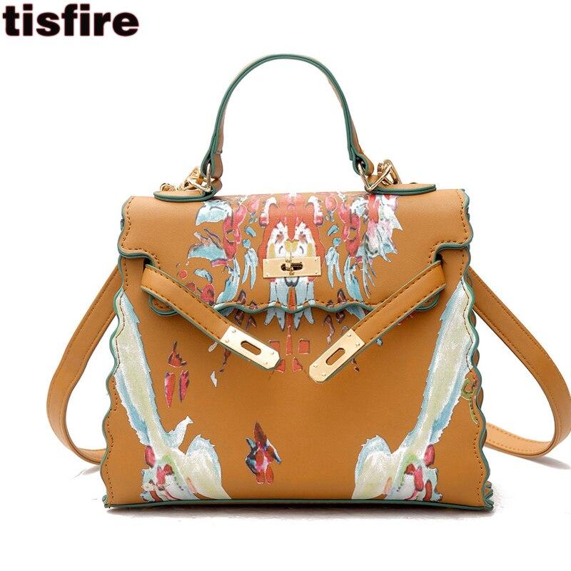 Top Handle Bags Luxury Handbags Women Designer Flower Graffiti Bag High Quality Tisfire Famous Brand Shoulder Crossbody