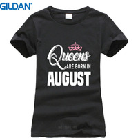 100% Cotton For Shirts Gildan O-Neck Graphic Short Sleeve Queens Are Born In August Tee Shirts