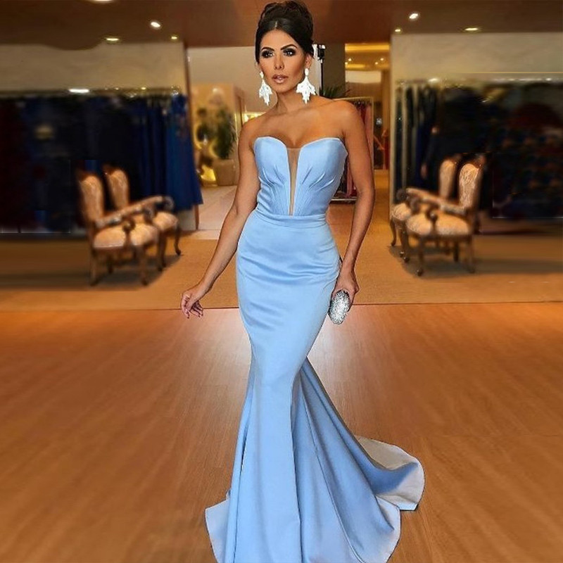 Simple Sky Blue Mermaid   Evening     Dress   Sexy Sweetheart Satin Floor Length Formal Women   Dresses   Elegant Long Prom Gowns