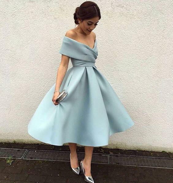 Turqoise 2019 Cocktail Dresses A-line V-neck Off The Shoulder Tea Length Elegant Party Homecoming Dresses