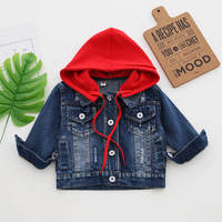 Children Clothing Autumn Baby Girls Boys Outerwear Jeans Topcoats Cartoon Hooded Kids Single Breasted Fashion Casual