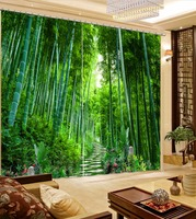 Natural Beautiful 3D Curtain Green Curtain Bamboo Forest Flower Curtains Blackout Shade Window Curtains