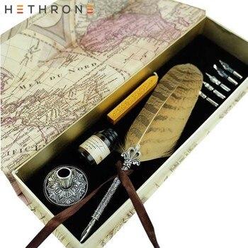 Hethrone английская ручка из перьев Calligrap ручка металл набор с накладками винтажный подарок на день рождения чернильная ручка Dip Ручка Металл пе... >> Hethrone Store