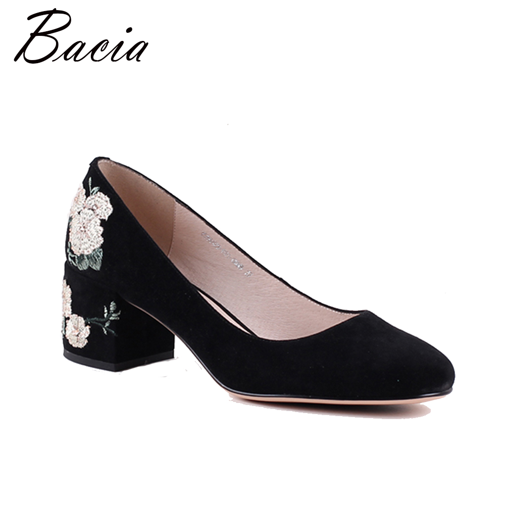 Bacia Women Thick heel Genuine Leather Shoes High Heels Black Round Toe Pumps High quality Embroide Sheepskin Shoes MWA015 bacia women shoes black patent leather ladies high heels shoes with bowknot thick heel pumps genuine leather lady shoes sb075