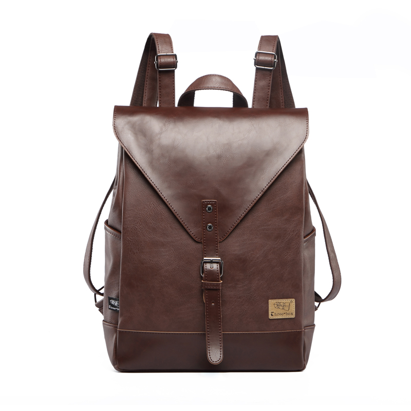 где купить Three Box Mens Backpack Fashion Pu Leather Backpack Leisure Student School Bag for Women Men Vintage Casual Laptop Business Bags по лучшей цене