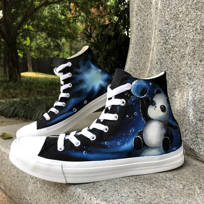 Wen Hand Painted Original Shoes Cute Panda Play Water Polo Design Custom Canvas High Top Sneakers Athletic Shoes for Boys Girls wen original high top sneakers steam punk hand painted unisex canvas shoes design custom boys girls athletic shoes gifts