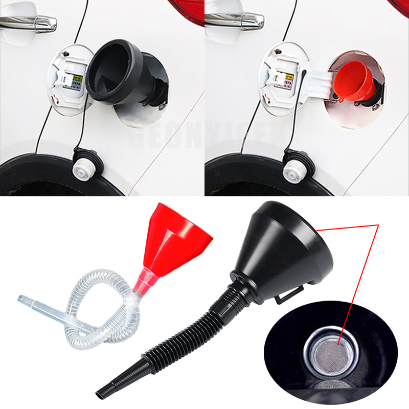 2 In 1 Plastic Funnel Can Spout For Oil Water Fuel Petrol Diesel Gasoline 2018 New Arrive High Quality Car Accessories Black