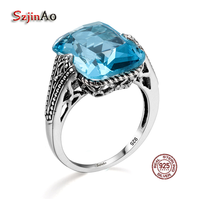 Szjinao Personalized 925 Sterling Silver Ring Aquamarine Royal