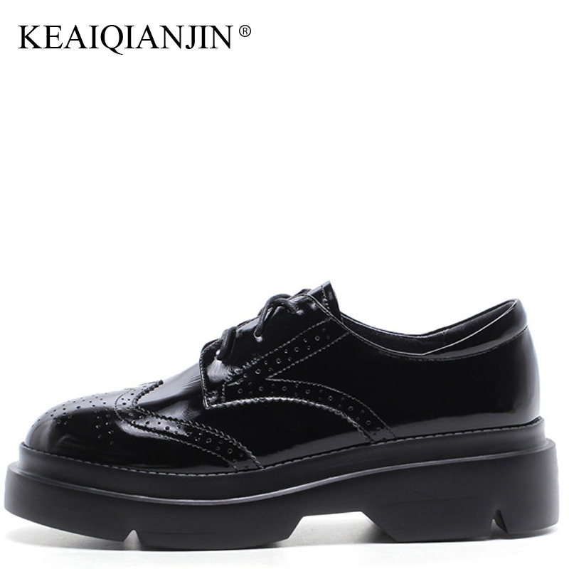 KEAIQIANJIN Woman Genuine Leather Brogue Shoes Black Gray Platform Shoes Spring Autumn Flats Lace-Up Genuine Leather Oxfords keaiqianjin woman fringe platform shoes fashion spring autumn black red horsehair flats round toe casual genuine leather loafers