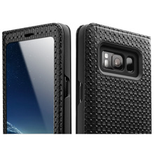 QIALINO Grid & Lizard Pattern Leather Case for Samsung Galaxy S8/S8 Plus