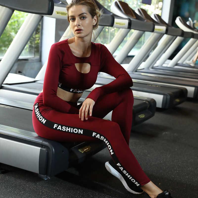 Conjunto deportivo de Yoga para mujer, conjunto de ropa deportiva, chándal, malla hueca, ropa de gimnasio, ropa para correr, Top Leggings, ZF050