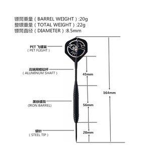 Image 2 - 6 PCS Professional Branco/PRETO Dardos Com Caixa livre 25g Aço Tip Darts com Ferro Cano De Cobre para indoor Jogo de Esportes