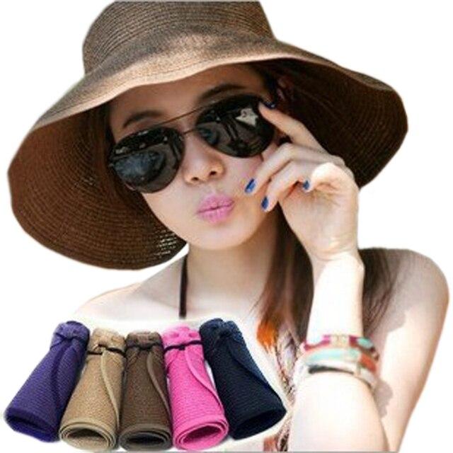 5ca99009323ae Viseras plegables mujeres sombreros de verano del sombrero del sol casquillo  de la playa femenino dama