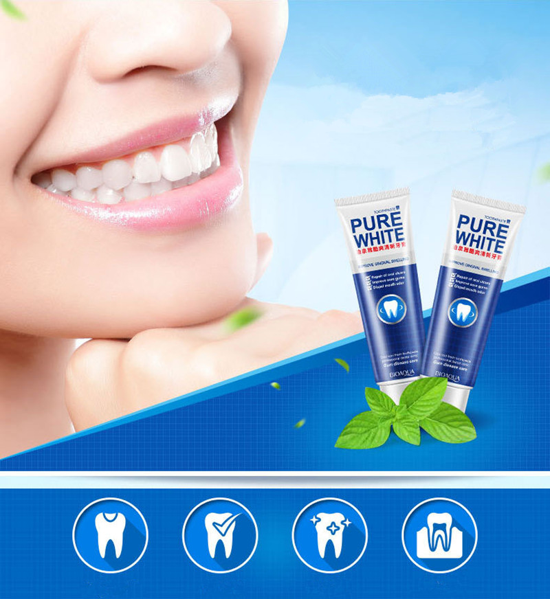Mint Fresh Toothpaste Whitening Remove Yellow Stains Halitosis Plaque Reduce Gingivitis Dentifrice Clean Dental image