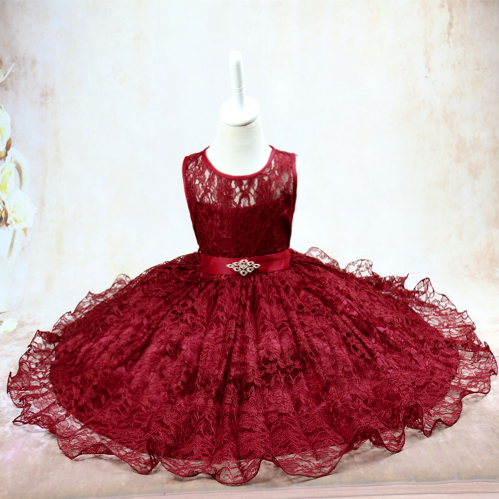 2017 Summer New Girls Dancing Ball Gown Dress Red Kids Children Sleeveless Princess Dress Girls Lace Formal Dress new arrival hot sale toddler princess girls sleeveless ball gown costume latin show fashion formal dancing dress