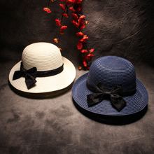 Summer Floppy Straw Beach Sun Hats For Women Classic Wide Brim Panama Hat Fashion Brief Solid Bow-Knot Caps Party