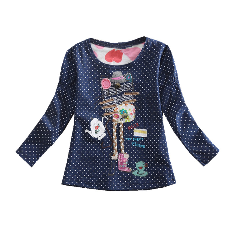 Retail Girls T-shirts Baby Clothes Long Sleeve Children`s T-Shirts Cotton T-Shirts Dot Girl Shirts Neat Flags F2101 Mix