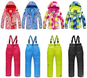 Image 5 - Лыжные костюмы для мальчиков 2020, флисовые куртки с капюшоном, комбинезоны, детские зимние комплекты, водонепроницаемый спортивный детский лыжный комплект одежды, ветрозащитная одежда