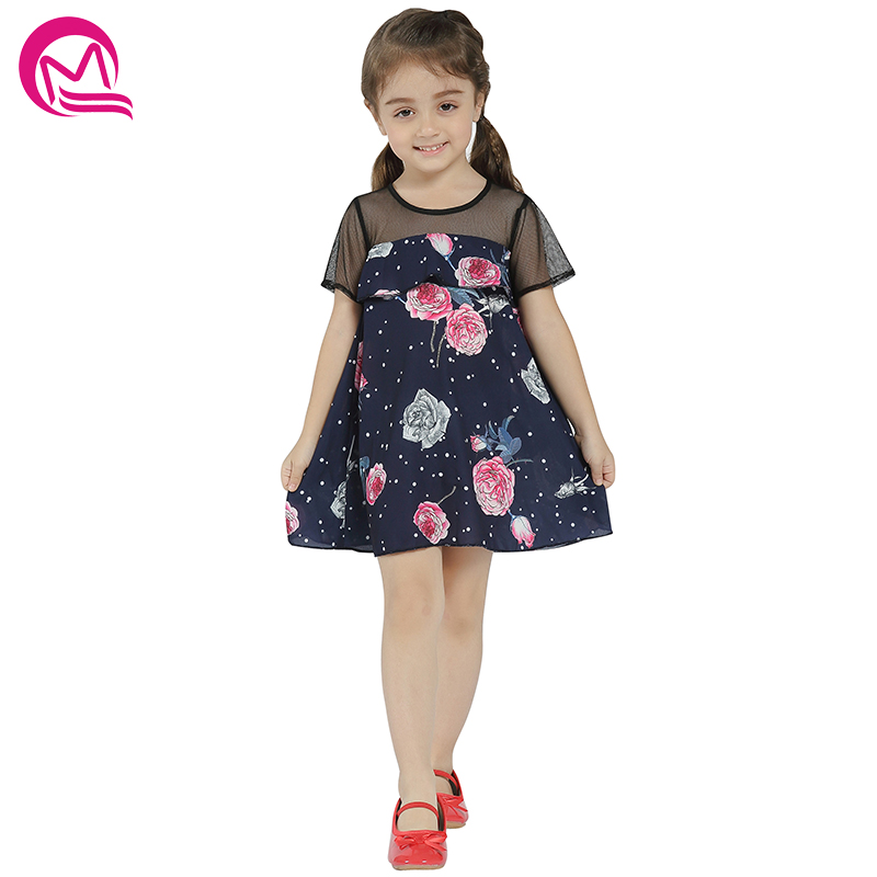 Girls Dress MQ 2018 New Arrival Summer&Spring Casual Dresses For Girl Kids Clothing Cotton Loose Print Patchwork Party Dress 2018 new fashion little girls summer floral dress print flowers loose casual party dress for gril cotton children kids clothes