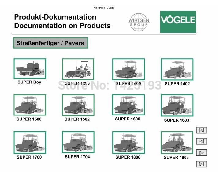 Vogele Electronic Spare Parts Catalog Service Manual