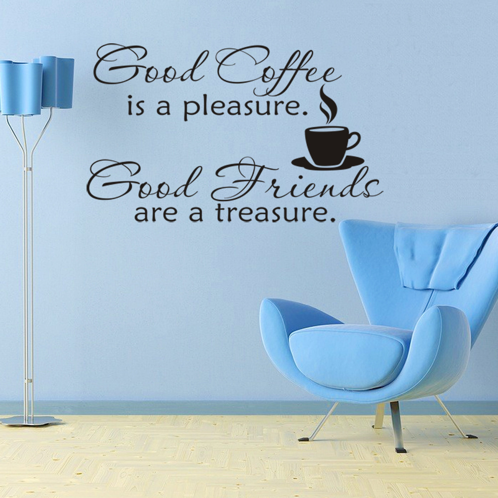 Delicious Coffee Cup Vinyl Quote Removable Wall Stickers DIY Home ...