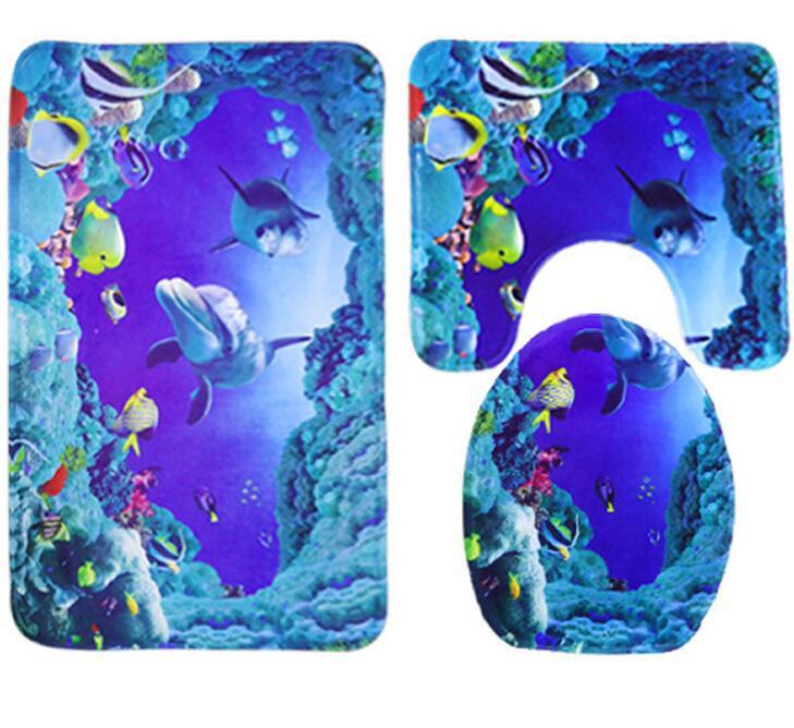 3pcs Blue Bathroom Mat Set Ocean Dolphin Pattern Toilet