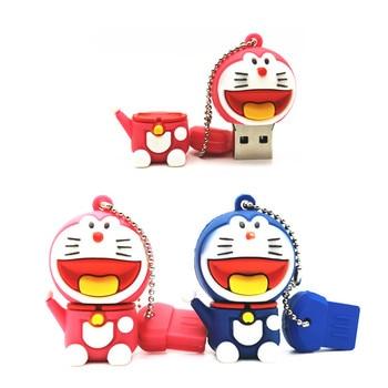 USB 2.0 Flash Drives Cartoon Doraemon Cat Memory Stick Pen Drive 4GB 8GB 16GB 32GB 64GB Pendrives Usb-flash Disk Gifts