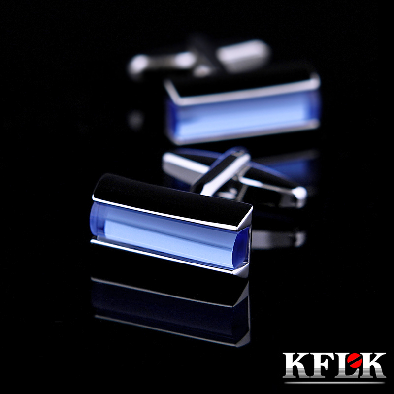 KFLK Jewelry Fashion Shirt Cufflink For Mens Brand Blue Crystal Fashion Cuff Link Button Male High Quality Wedding Free Shipping