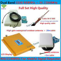 1 Set High quality Dual Band gsm Repeater 2100MHz 3G booster 2g GSM 900Mhz Cellular Signal Booster tube amplifier