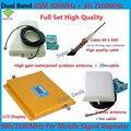 Conjunto completo de Alta qualidade do cabo coaxial 50-5 + LCD Dual Band repetidor 3G WCDMA 2100 MHz GSM 900 Mhz Celular Signal Booster + Antena