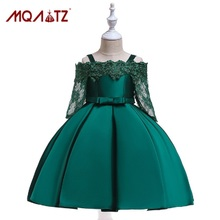 MQATZ 2019 New Princess Lace Dress Kids Flower Embroidery Dress For Girls Vintage Children Dresses For Wedding Party Formal Ball