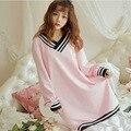 Sexy Nightgowns Mulher Plus Size Inverno Algodão Sleepwear Vestido Longo manga V Pescoço Solto Senhoras Vestido de Noite Rosa Casa Casa vestido