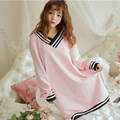 Sexy Nightgowns Woman Plus Size Winter Cotton Sleepwear Dress Long Sleeve V Neck Loose Ladies Night Dress Home Pink Home Dress