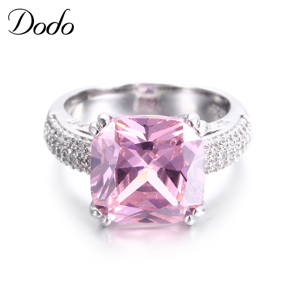 Dodo Vintage 585 White Gold Color Jewelry Pink Aaa Crystal Wedding Ring For  Women Romantic Engagement