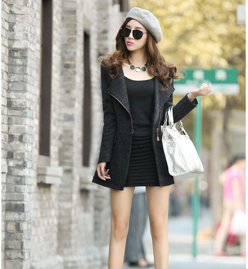 Women Wool Blends   basic     jacket   coatsection women Slim side zipper spring   jackets   coats 550
