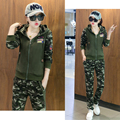 2017 New Fashion Women's Tracksuits Camouflage Sportswear 2 Pcs Suits Pants +Hoodies With Hat Long Sleeve Women's Clothing Set