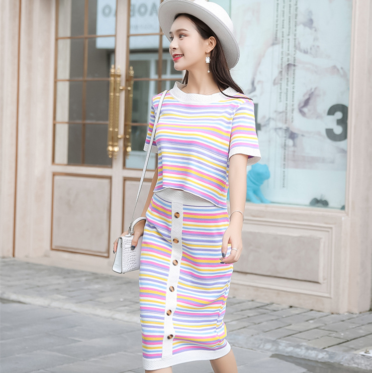 Two Piece Set Summer 2019 Korean Vintage Rainbow Striped Knitted Crop Top Skirt Set 2 Piece Outfits for Women Matching Sets S176 in Women 39 s Sets from Women 39 s Clothing