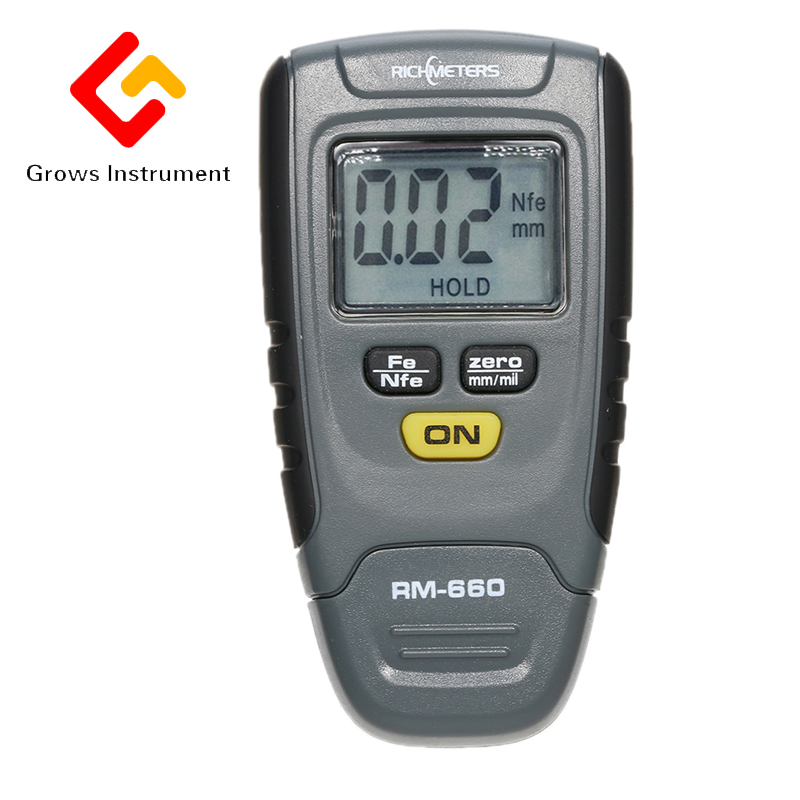 RM660 Digital Paint Coating Thickness Gauge LCD feeler gauge Tester Fe/NFe 0-1.25mm for Car Instrument Iron Aluminum Base Metal