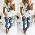 2106 Nueva Llegada de Venta Caliente de la Manera Barata Para Mujer Ripped Flaco Lace Crochet Stretch Denim Jeans Delgado Pantalones Azul
