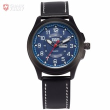 SHARK ARMY Blue Date Stainless Steel Electroplate Case Leather Strap Sports relogio masculino Quartz Mens Military Watch /SAW122