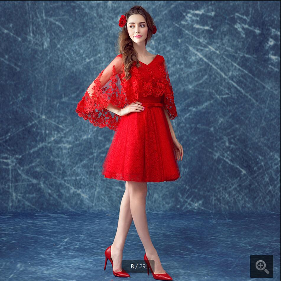 2016 free shipping wholesale red lace short prom dress v neck with ...
