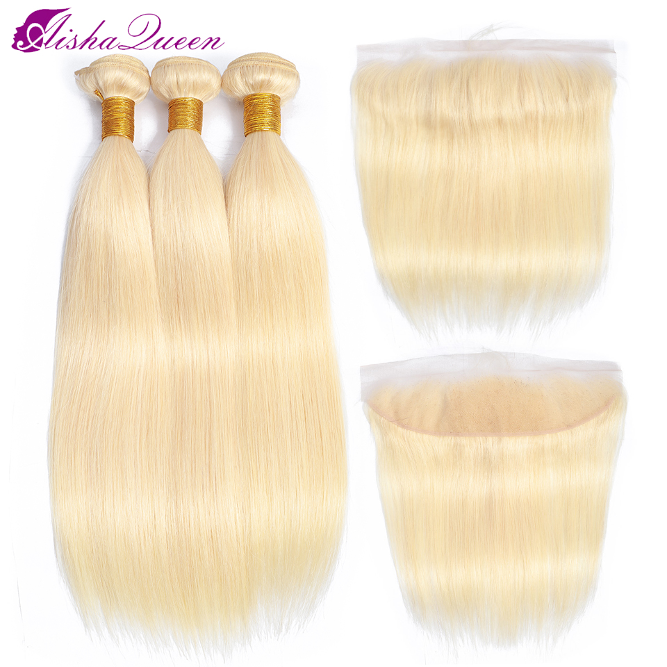 Aisha Queen 613 Blonde Bundles With Frontal Brazilian Straight Hair With Frontal Remy Blonde Human Hair
