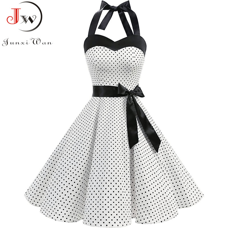 Women Polka Dot Print Summer Dress Sexy Retro White Halter Vintage Dress Plus Size Robe Femme Pin Up Rockabilly Party Dress