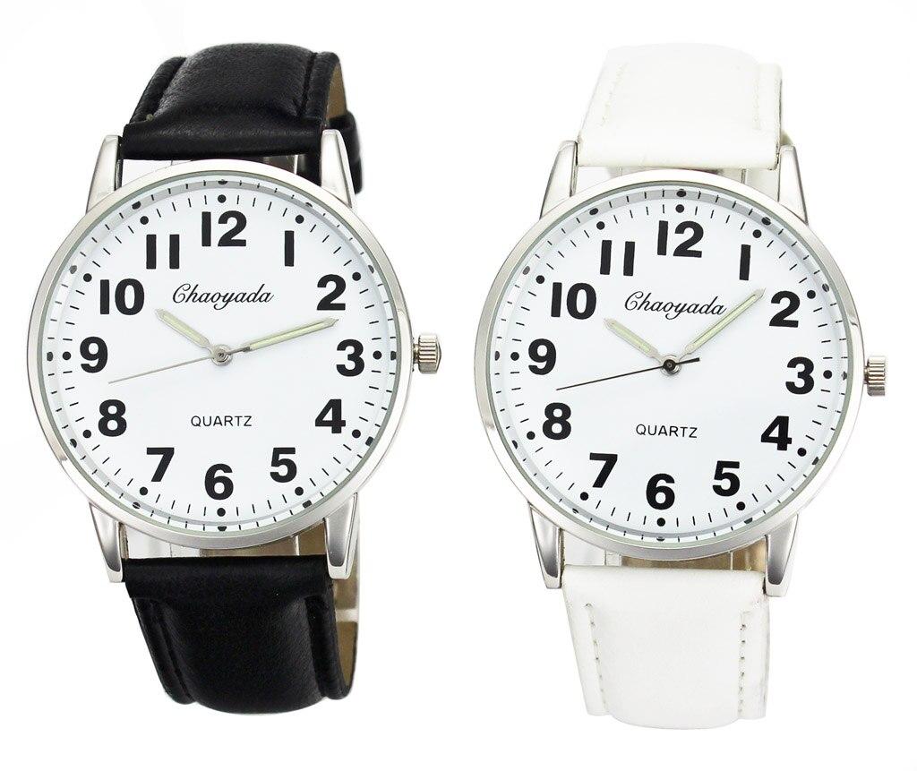 Men Women Casual Simple Black White Leather Female Male Deals Cheap Analog Quartz Wrist Watch 2