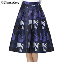 12 OAKS OF KATY Europe America Women Fashion Vintage High Waist Skirt Abstract Blue Roses Zip