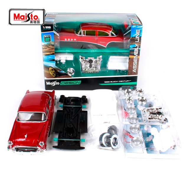 US $28 1 17% OFF|Maisto 1:24 1955 Buick CENTURY Assembly DIY Diecast Model  Car Kit Toy For Kids Gifts Toy New In Box Free Shipping -in Diecasts & Toy
