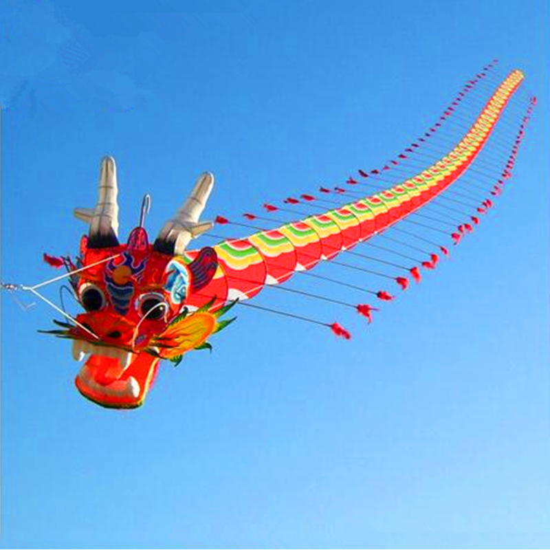 High Quality Chinese Traditional Dragon Kite 7m With Handle Line Weifang Kite Big Outdoor Tartan Hcxkite Factory