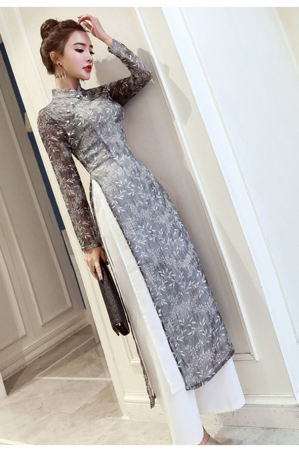 2019 Folk Style Vietnam Robes Chiffon Aodai Improved Dress Elegant Party Dress Traditional Embroidery Asian Dress Ao Dai