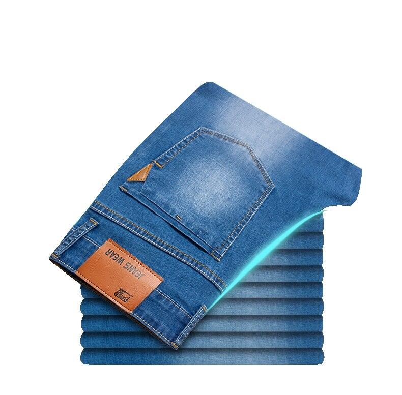 2019 Summer New Men Thin Light   Jeans   Business Casual Stretch Slim Denim   Jeans   Light Blue Trousers Male Brand Pants Plus Size